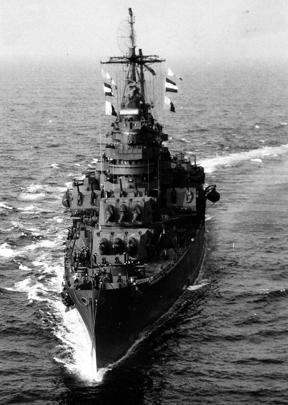 USS Saint Paul (CA-73) underway in Massachusetts Bay, Massachusetts, March 1945.