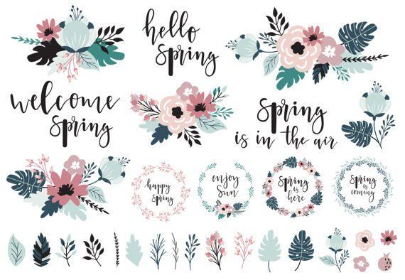 Spring / clipart / flower / rose gold / by LokkoGraphicStudio
