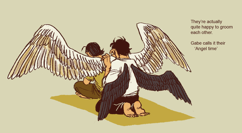 Do Cas or Gabe ever need help with wing grooming? | Supernaturalism