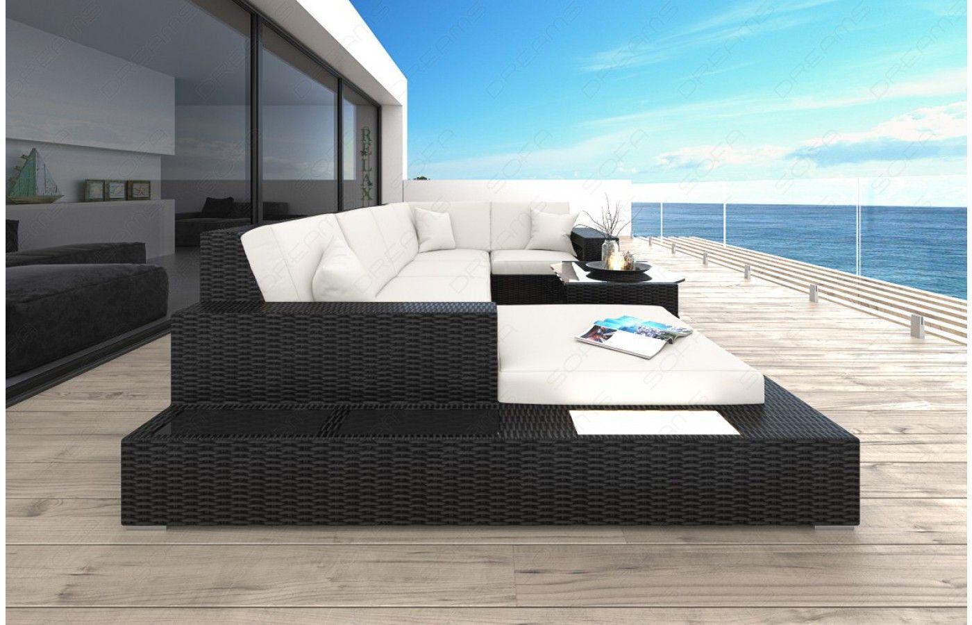 Good  Rattan Sofa Lounge MESSANA f r den Au enbereich mit LED Beleuchtung