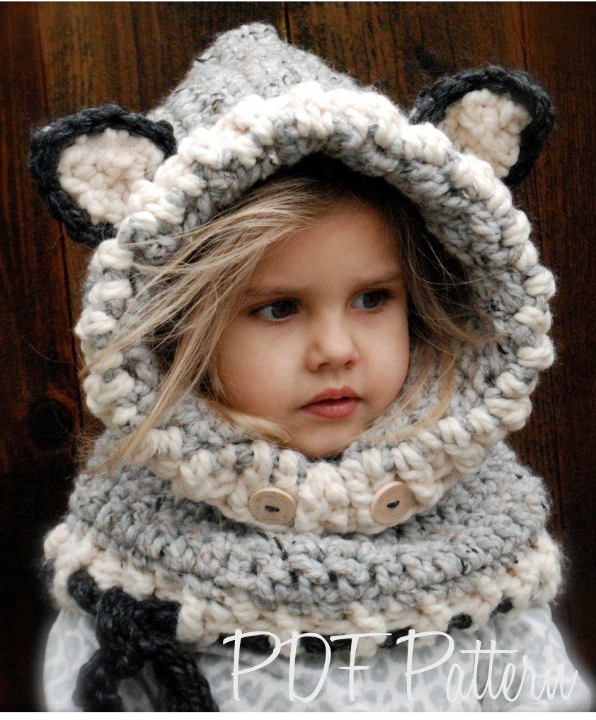 CROCHET PATTERN - Woodlynn Wolf Cowl (12/18 months, Toddler, Child ...