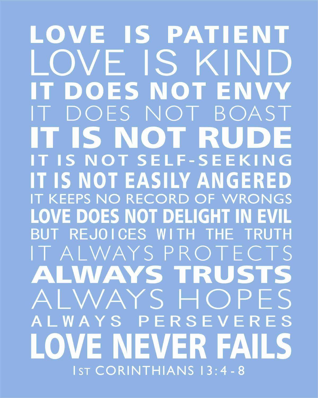 Wedding Reading Love Is Patient: Subway Scripture Art Scripture Print 1st Corinthians 13 4