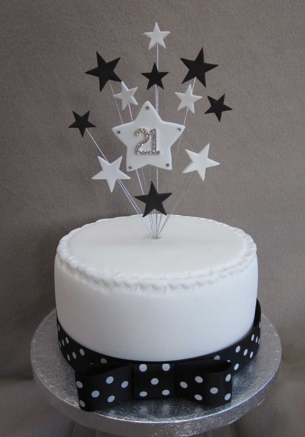 21st Birthday Cake Topper Black And White Stars Suitable For A Small Or Cupcake Amazoncouk Kitchen Home