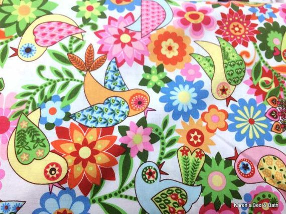 Quilting Fabric Orange Pink Blue Flowers Pale Green BG 100/% Cotton Fat Quarter