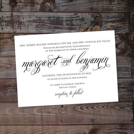 Script, calligraphy, wedding invitations Receive a non-customized - invitation non formal