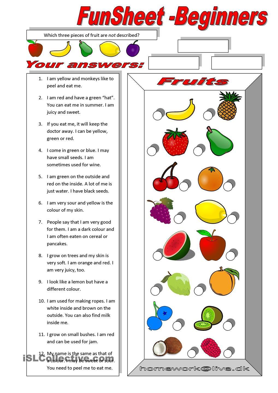 FunSheet for Beginners Fruit Esl worksheets for