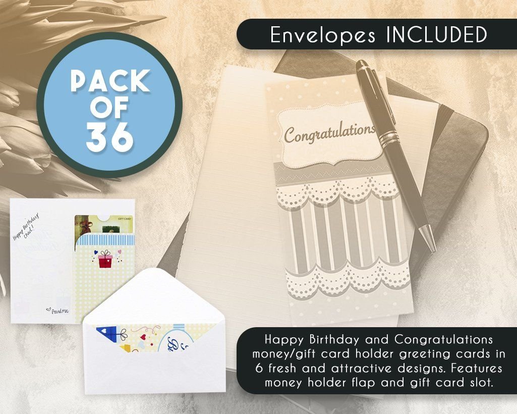 Birthday Cards Box Set AEUR 36 Pack Money Card Holders 6 Colorful Celebration Designs Happy Bulk Envelopes Included 35 X 725 Inches