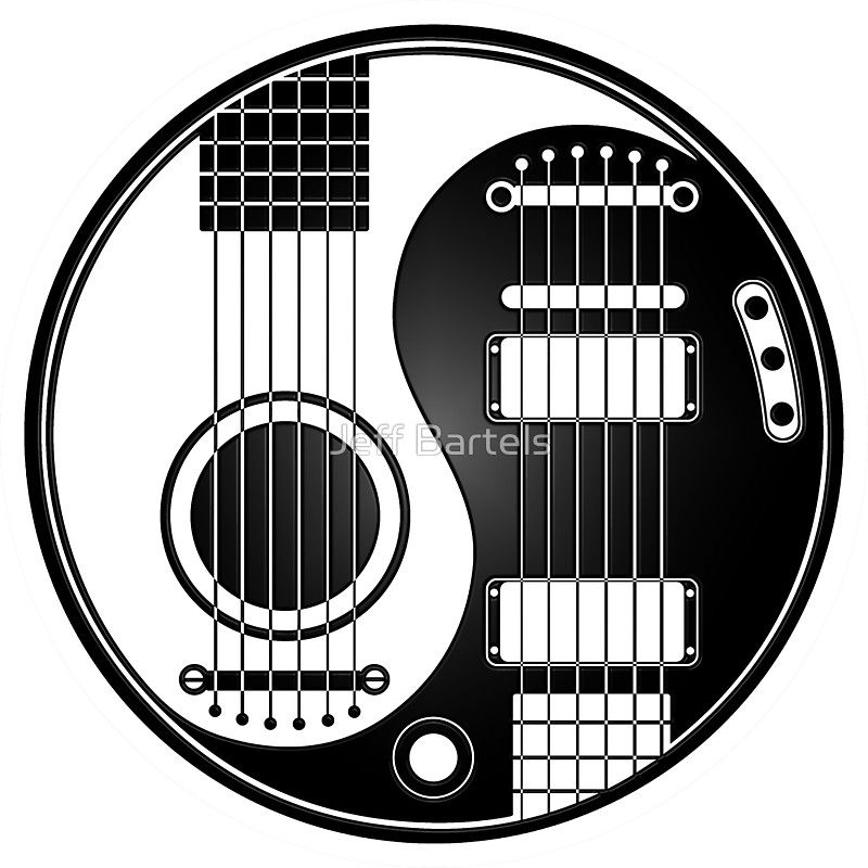 White And Black Acoustic Electric Guitars Yin Yang Sticker By Jeff Bartels In 2021 Guitar Tattoo Design Music Tattoos Yin Yang Designs
