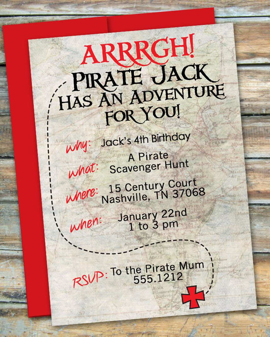 pirate treasure invitations templates | Pirate Party - Scavenger ...