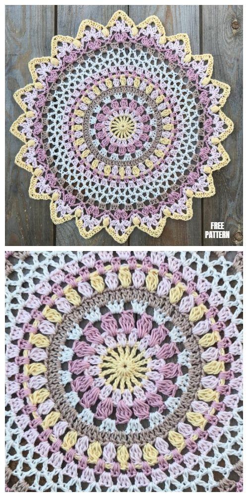 Sunset Mandala Free Crochet Pattern - DIY Magazine #crochetmandalapattern