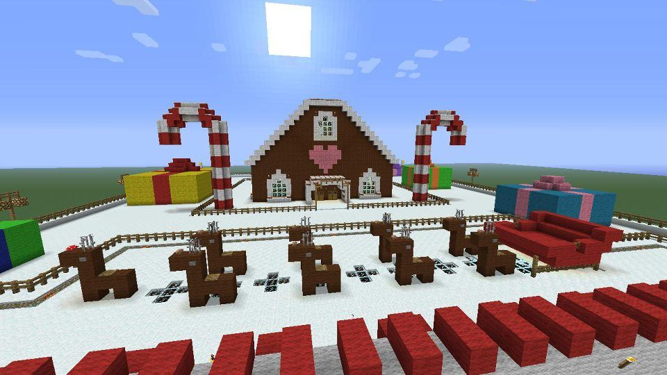 Minecraft Christmas Houses.Christmas Town Gingerbread House Reindeer Puling Sleigh