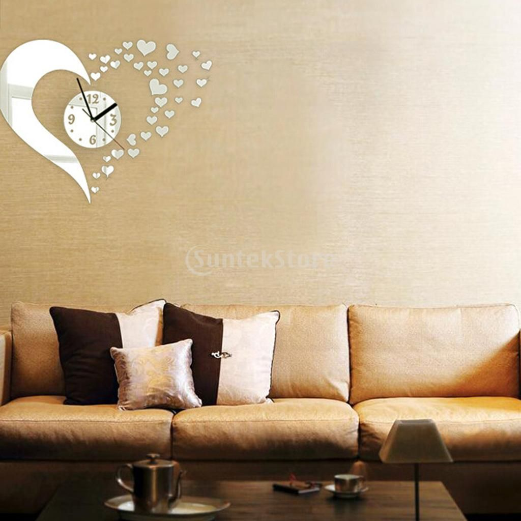 HOT SALE DIY Wall Art Clock Mirror Wall Sticker Home Decor - Hearts ...