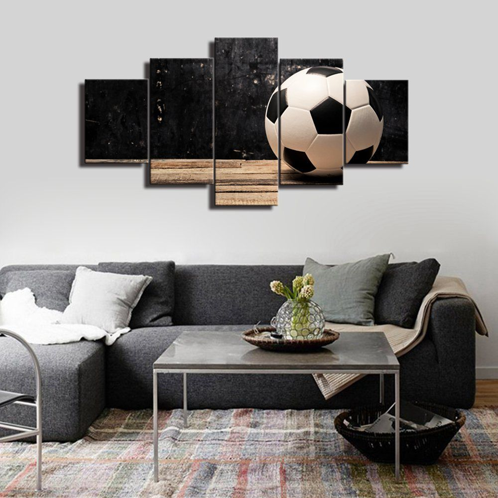 Soccer Ball On Vintage Background Home Decor Canvas Painting Sports Wall Decor Poster Print Football For Kids R In 2020 Sports Wall Decor Kids Room Wall Wall Art Gift
