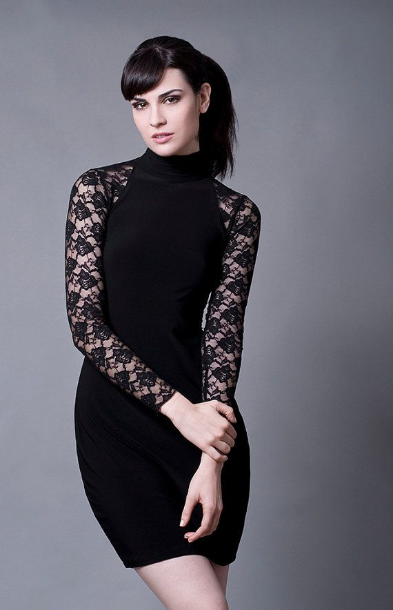 Black lace evening dress with turtleneck