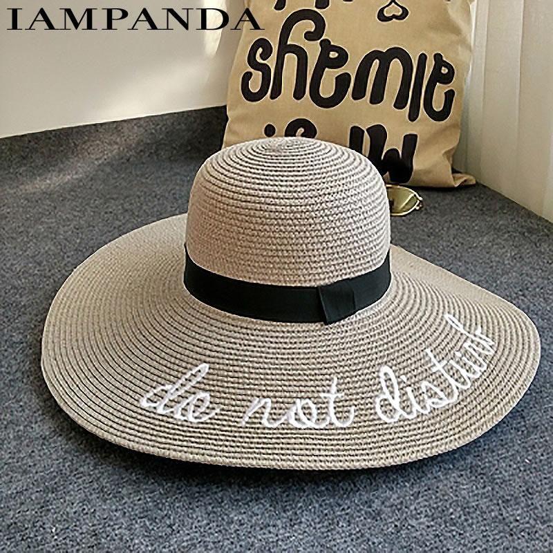 332cb98b2a01db IAMPANDA brand 2017 letter embroidery cap Big brim Ladies summer straw hat  youth hats for women Shade sun hats Beach hat sale