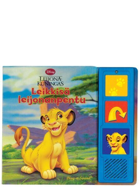 Leikkisä leijonanpentu -ääninappikirjassa Leijonakuningas-elokuvasta tuttu Simba-pentu leikkii Nala-ystävänsä kanssa kaikki päivät savannilla iloisia leijonanpentujen leikkejä: ne muun muassa kohtaavat muita eläimiä ja kuvittelevat olevansa milloin seeproja, milloin heinäsirkkoja. Suloisessa kartonkikirjassa on kolme ääninappia, joiden äänitehosteilla tarina herää eloon aivan uudella tavalla!