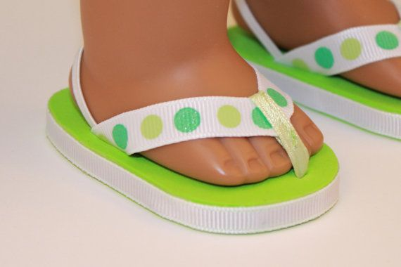 "Green Flip Flop Sandals Fits Wellie Wishers 14.5/"" American Girl Clothes Shoes"