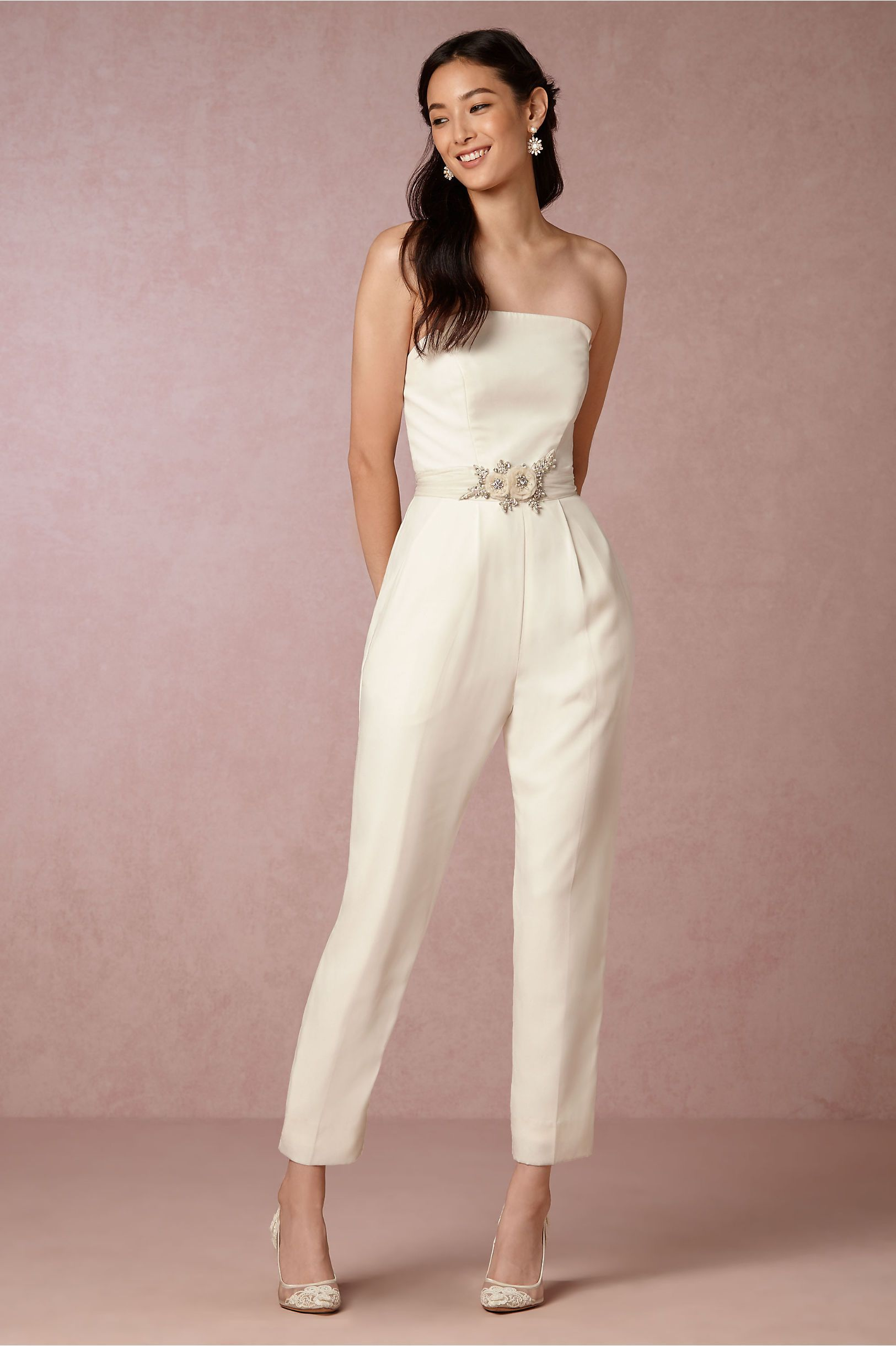 Bhldn langley jumpsuit in bride reception u rehearsal dresses