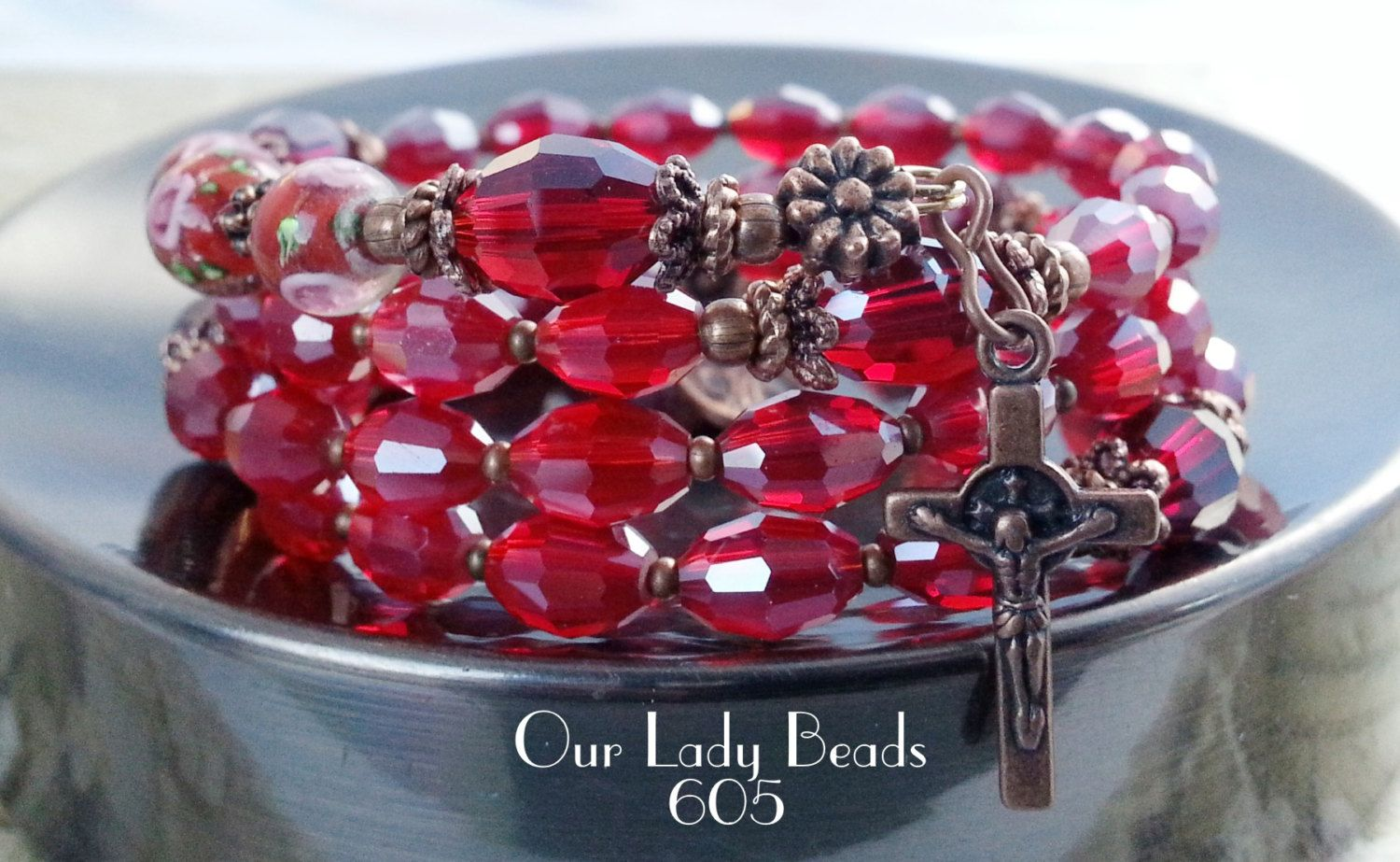 Rosary Bracelet Wrap,Dark Red Crystal Rosary,Religious Gift,Catholic Jewelry,Confirmation,First Communion,Gift for Her,by Our Lady Beads,605 by OURLADYBeads on Etsy
