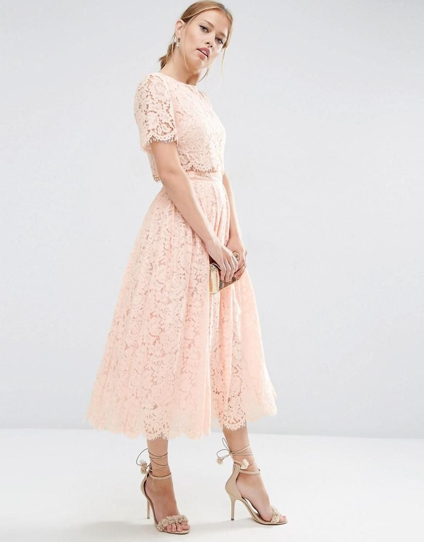 ASOS | ASOS Lace Crop Top Midi Prom Dress at ASOS