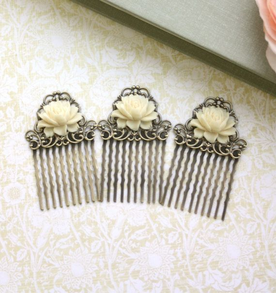 Set of Three, 3 Vintage Style Ivory Rose Small Rose Flower Art Nouveau Antiqued Bronze Small Filigree Hair Comb. Bridesmaids Gifts. | @giftryapp