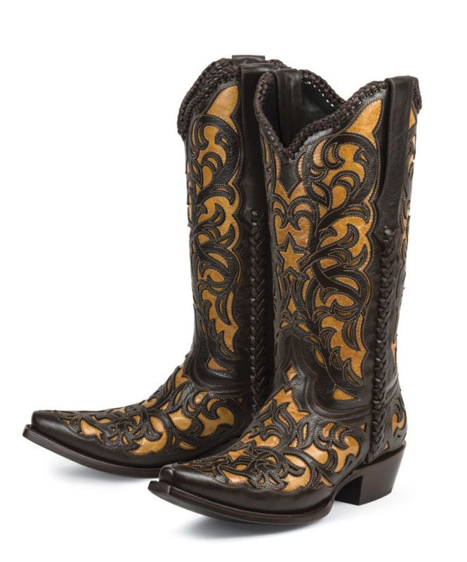 Details about Brand new BROWN w/ tan inlays womens ladies cowboy ...