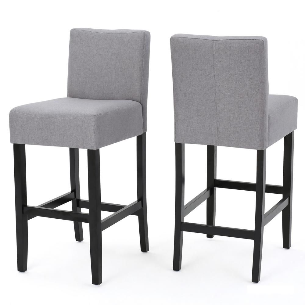 Noble House Lopez 29 5 In Light Grey Fabric Bar Stool Set Of 2