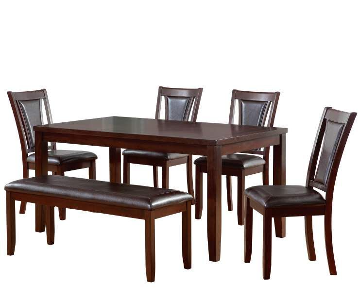 Harlow 6-Piece Padded Dining Set With Bench