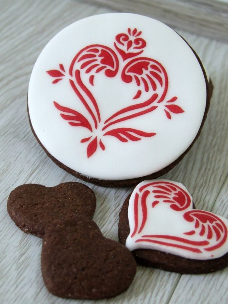Angel Damask Cupcake Stencil  Winged Heart    Cookie decorating     Valentine s Day Angel Damask Winged Heart Cupcake   Cookie Stencil   cake decorating  stencil  Part of the Angel Damask range by Roslyn Designs for Sugar