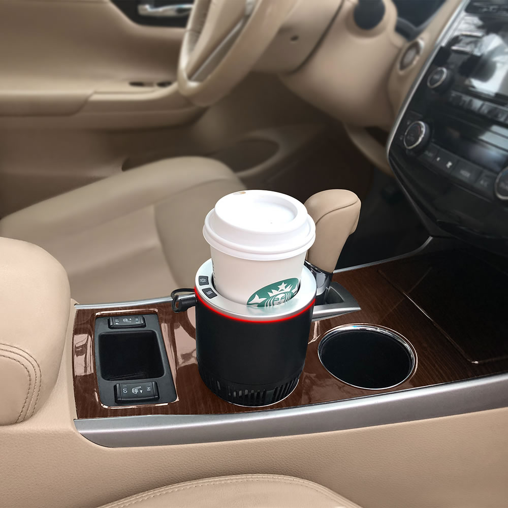The Commuter S Heating Cooling Cup Holder Hammacher Schlemmer Heating And Cooling Cup Holder Holder