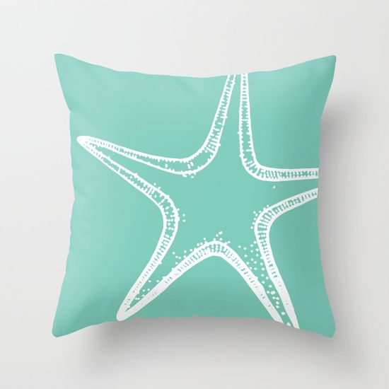 Starfish Mint Green Throw Pillow By Aledan 20 00