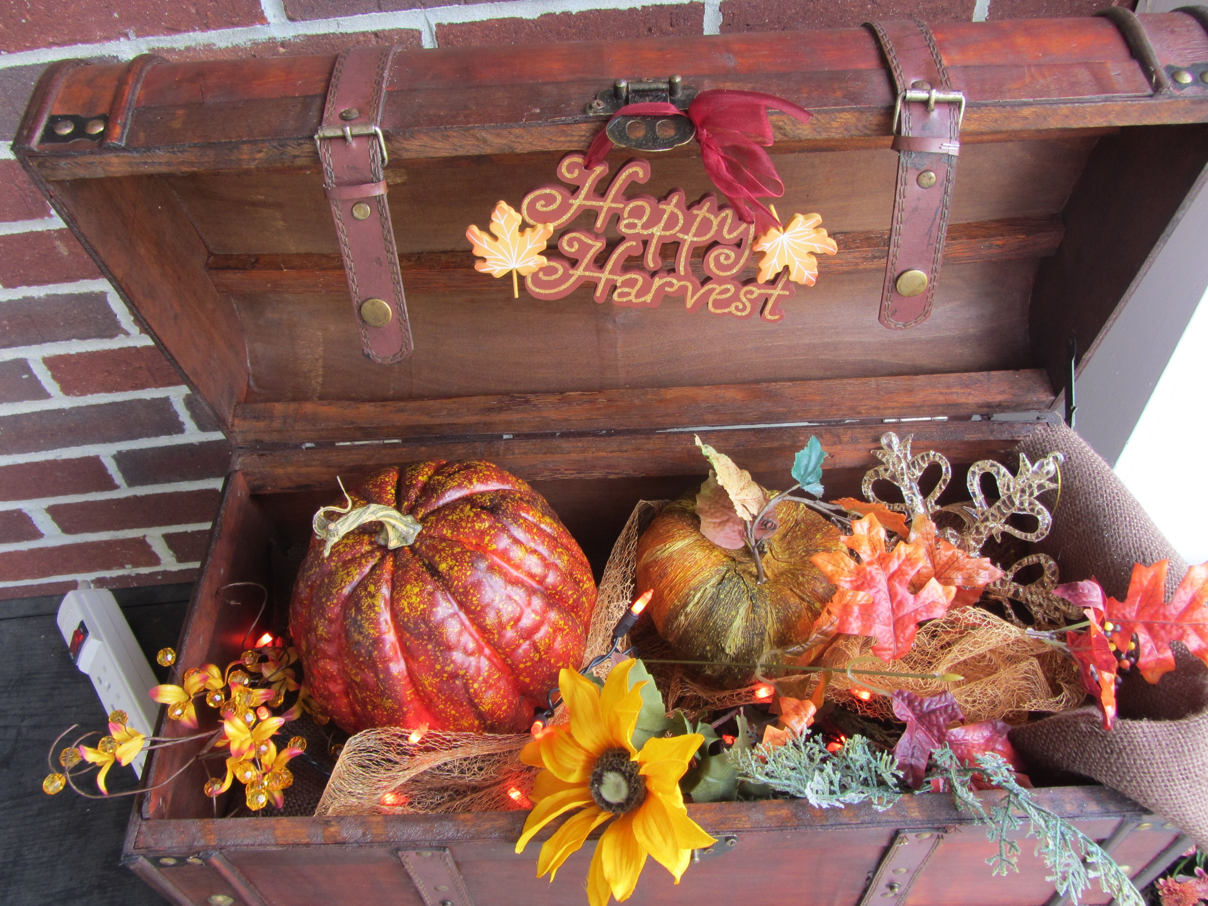 I created this trunk and have also made a kit to switch the theme from Christmas to Thanksgiving, $75.00 on Etsy, store name Dragonfly Bath & home