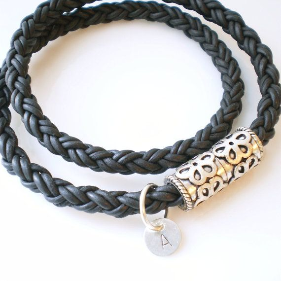 Brown Braided Leather Double Wrap Bracelet with Magnetic Clasp $33.00