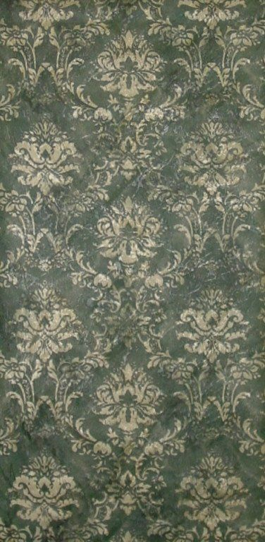 Norwall Dark Green Gold Damask Satin Wallpaper