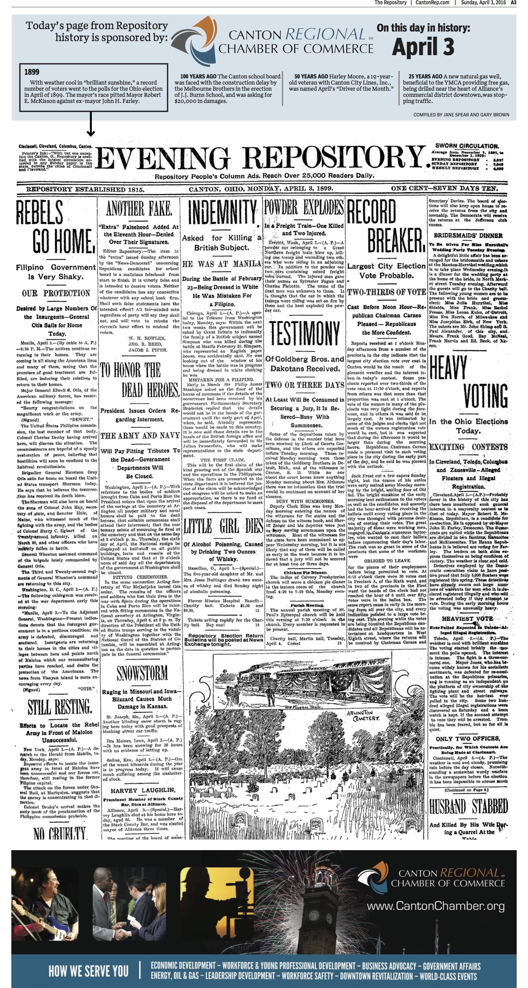 The Front Page Of The Repository For April 3 1899 Breakers