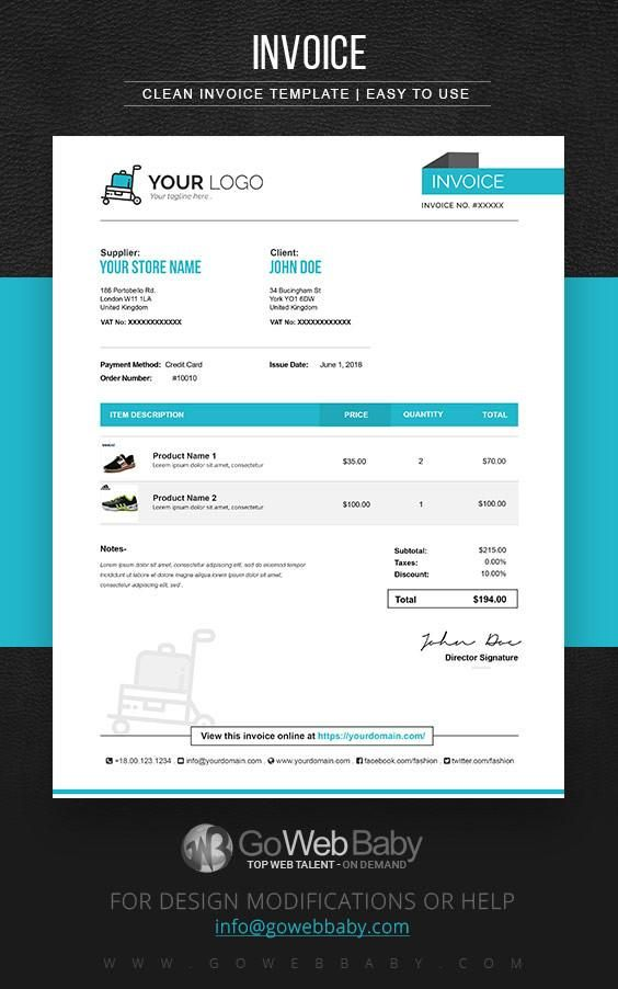 E-Commerce Invoice Templates For Website Marketing Invoice - Website Invoice