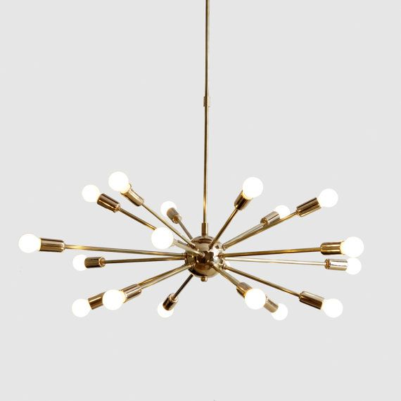 Product Detail Mid Century Modern Polished Brass Sputnik Atomic Chandelier Starburst Light Fixture This