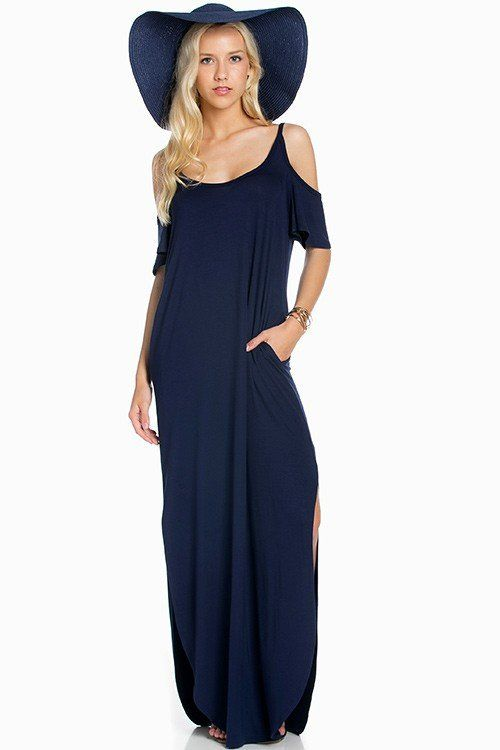 212528acf4785 Cold Shoulder Relaxed Maxi Dress in Navy