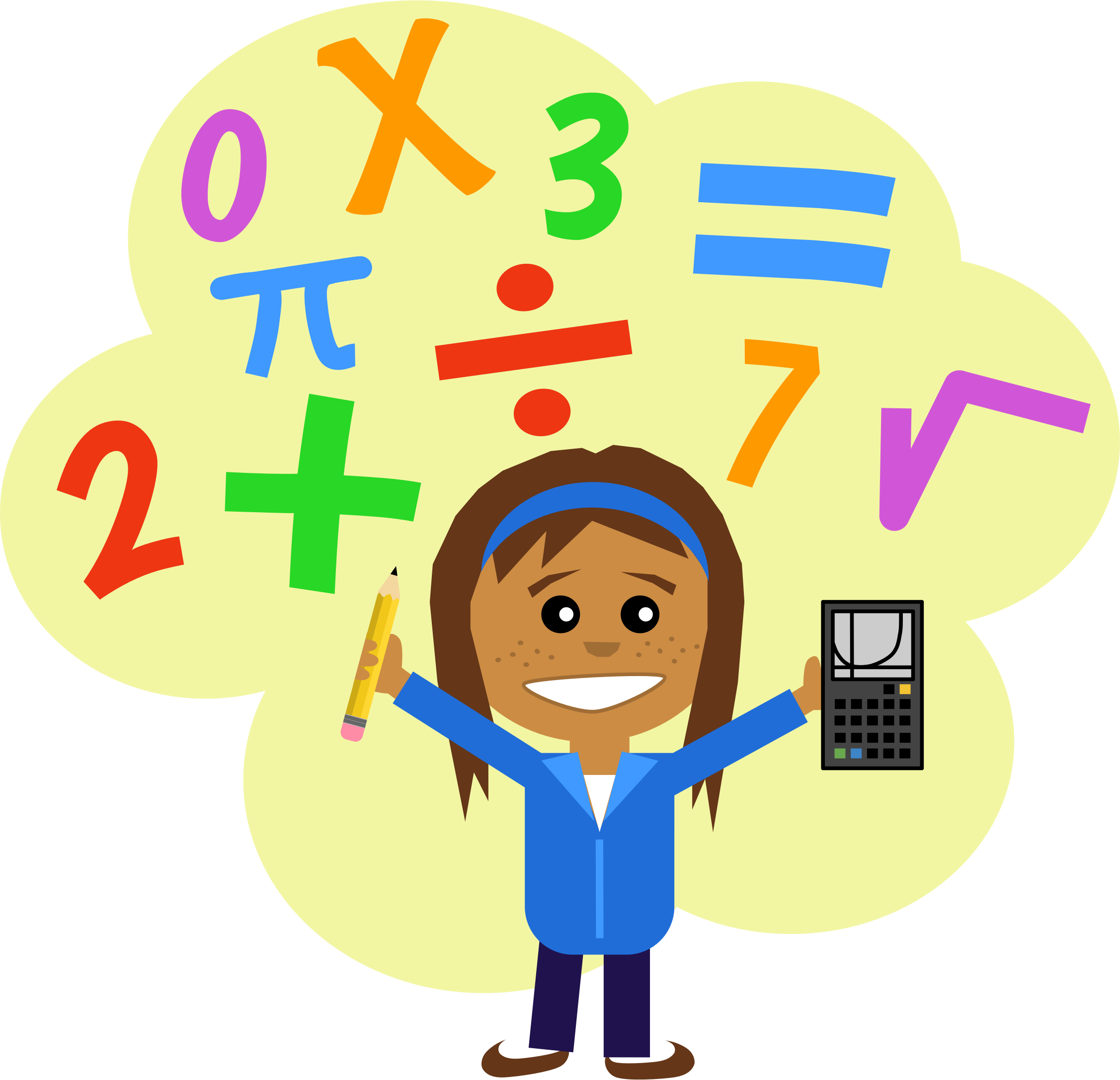Math Girl By Scout Girl With Pencil And Calculator In A Cloud Of Math Symbols Drawn In Comic Style On O Math Clipart Project Based Learning Teaching Math