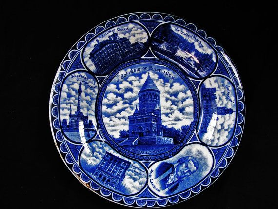 Rowland Marsellus Plate Flow Blue Staffordshire by TreasuresPast4U