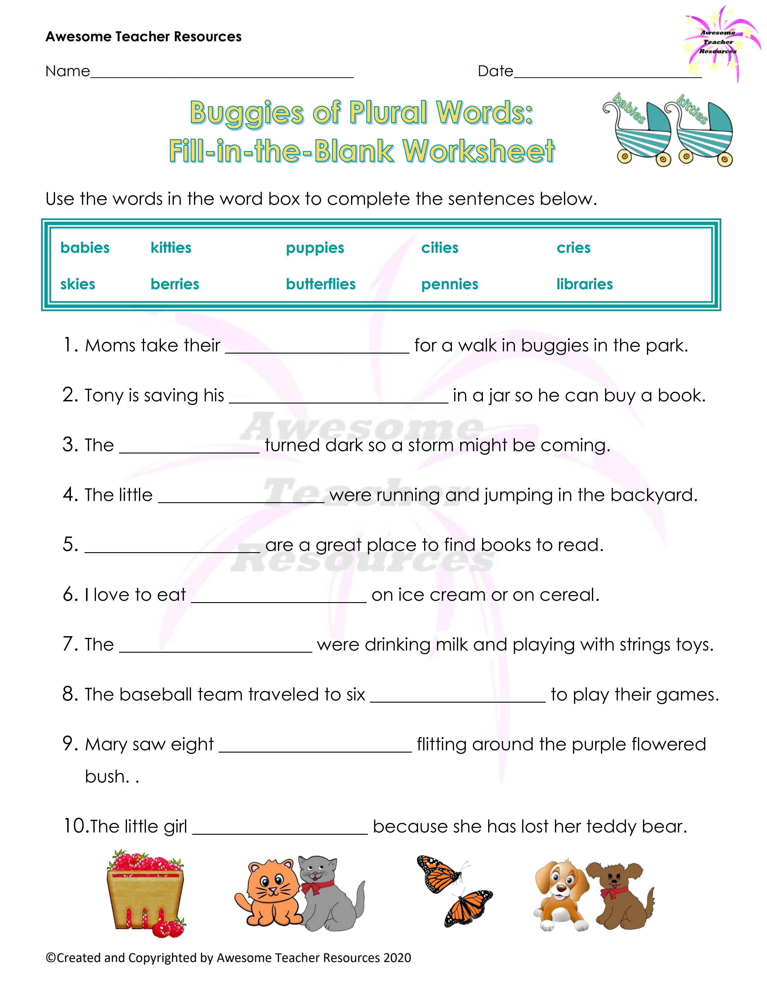 Buggies Of Plural Words Fill In The Blank Worksheet