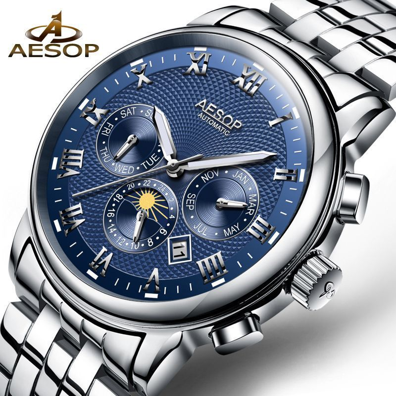 Fashion Top Brand Men Hand-winding Skeleton Automatic Mechanical Stainless Steel Sport Wrist Watch Automatic Watch Relogio Watches Men's Watches
