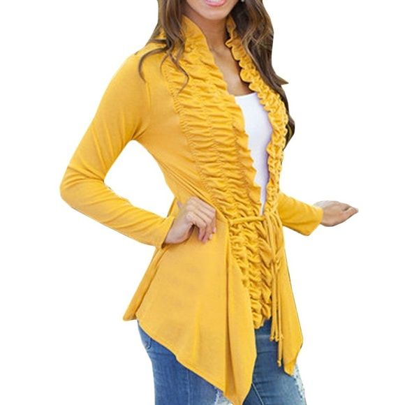 New mustard yellow ruffle front cardigan New mustard color ...