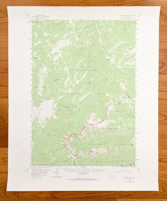 Yellowstone National Park Topographic Map.Antique Pelican Cone Wyoming 1959 Us Geological Survey Topographic