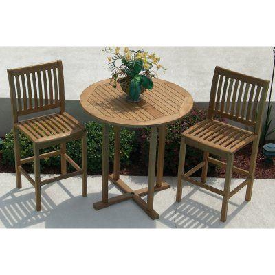 Outdoor Royal Teak Bar Height Patio Bistro Set PBT Bistro Set - Teak bar height outdoor table
