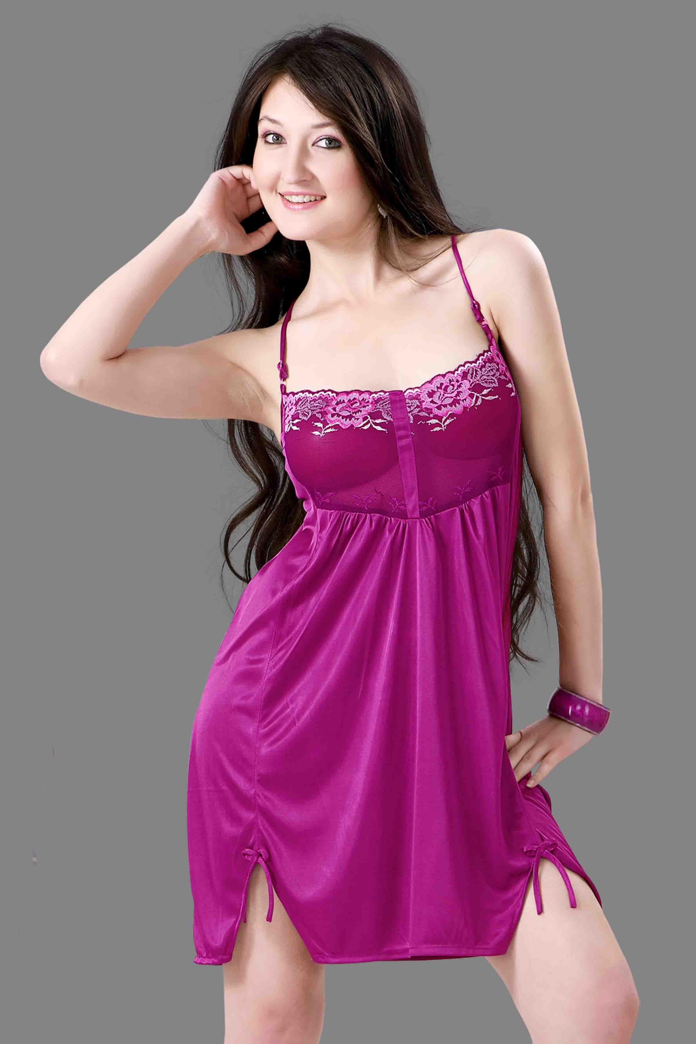 Buy Purple Satin Comfortable to wear 3/4 Nighty 1 P Online with huge ...