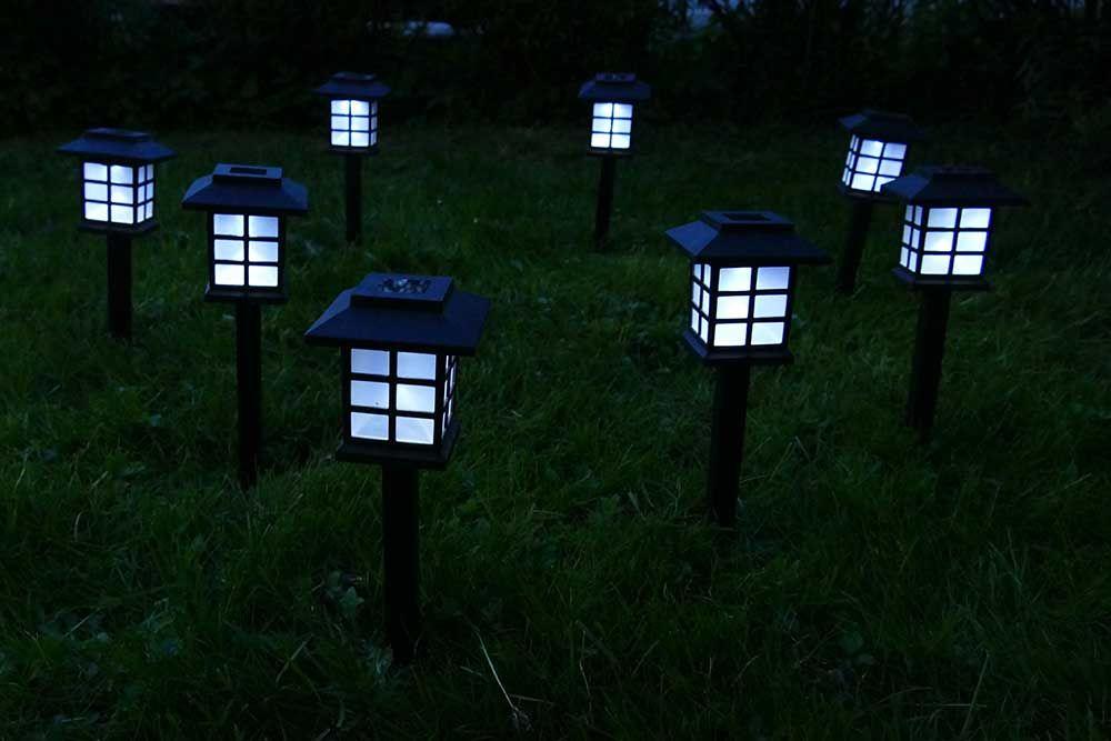 solarleuchten garten set mit 8 st ck solar laternen 23 cm hoch als wegbeleuchtung. Black Bedroom Furniture Sets. Home Design Ideas