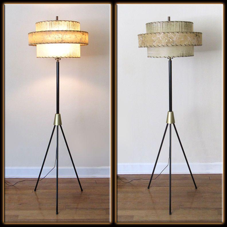 Vintage 50s Mid Century Modern 3 Leg Tripod Pole Floor Lamp