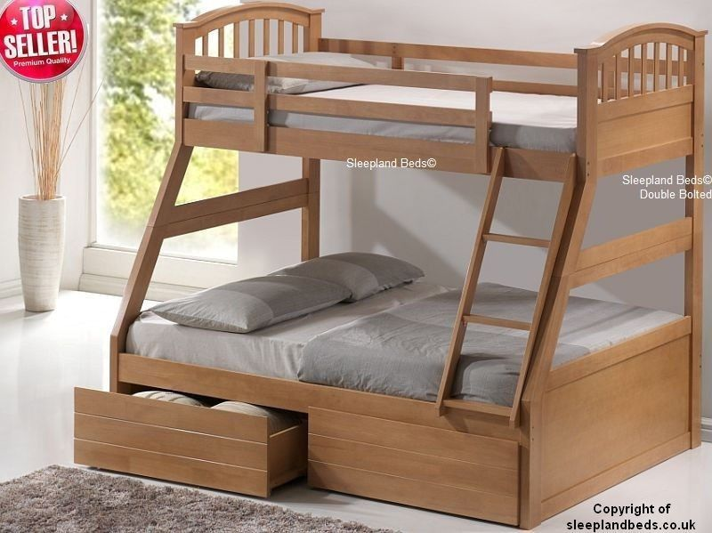 Cosmos Triple Bunk Beds White Or Maple Wooden Bunk With Drawers