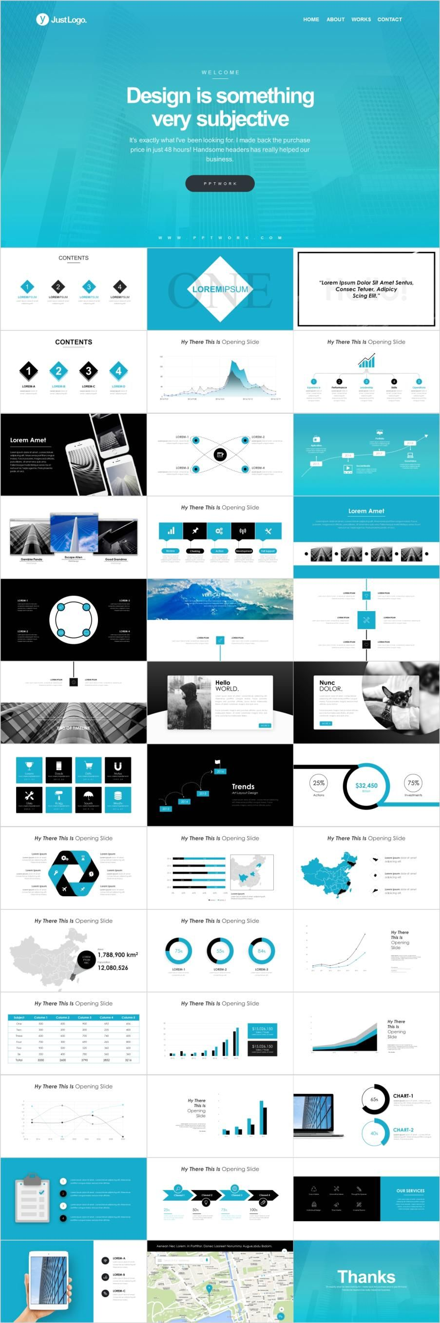 Blue Company Profile Powerpoint Template Powerpoint Templates Business Design Business Powerpoint Presentation
